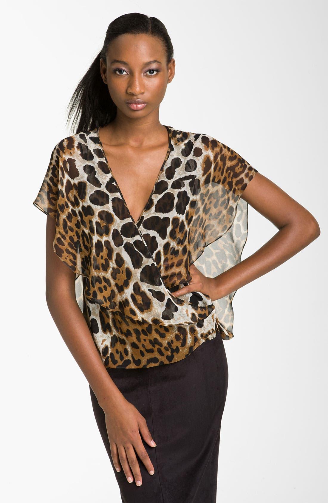 Alternate Image 1 Selected - Robert Rodriguez 'Leopard' Surplice Chiffon Top