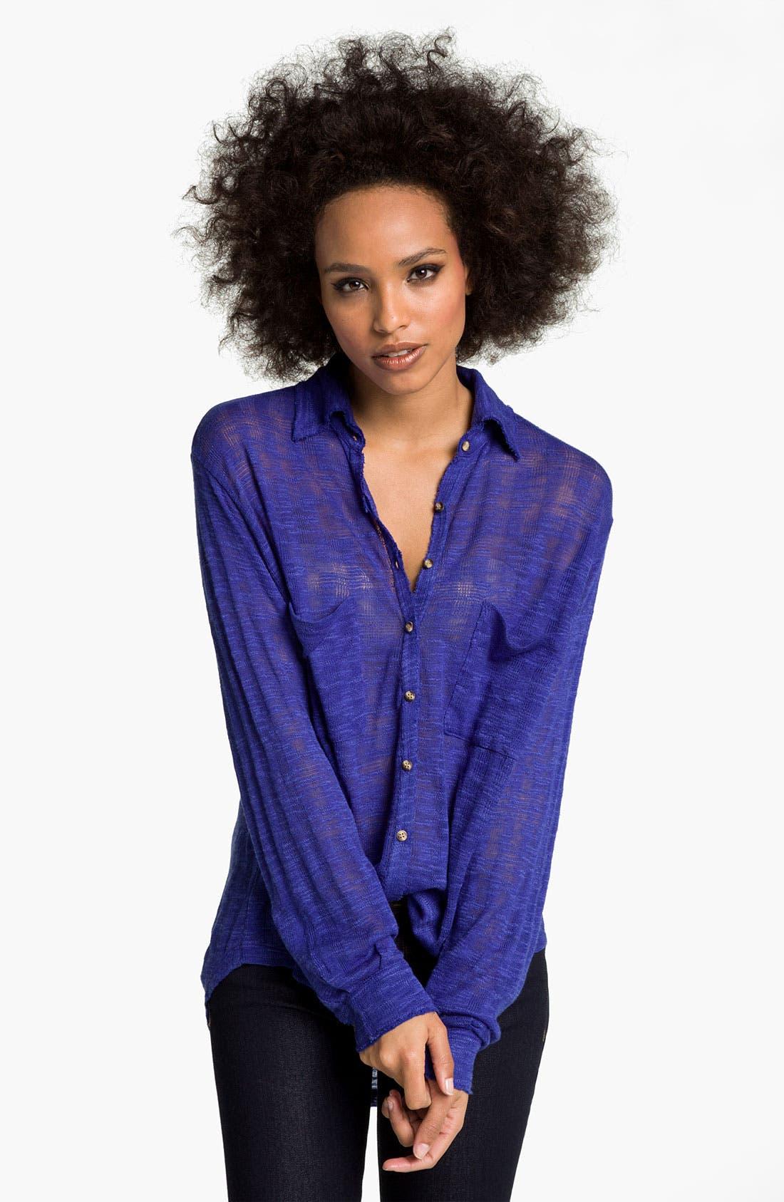 Alternate Image 1 Selected - Free People Sheer Stripe Shirt
