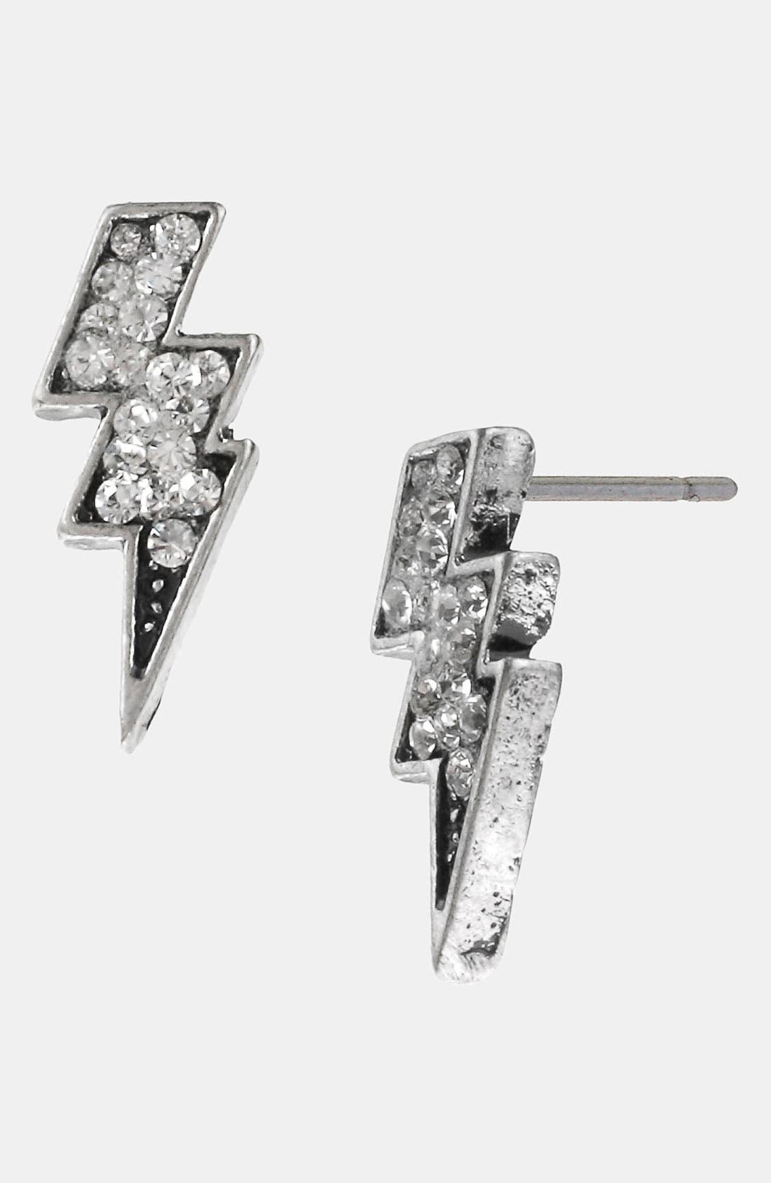 Main Image - Betsey Johnson 'Black Label' Crystal Bolt Stud Earrings