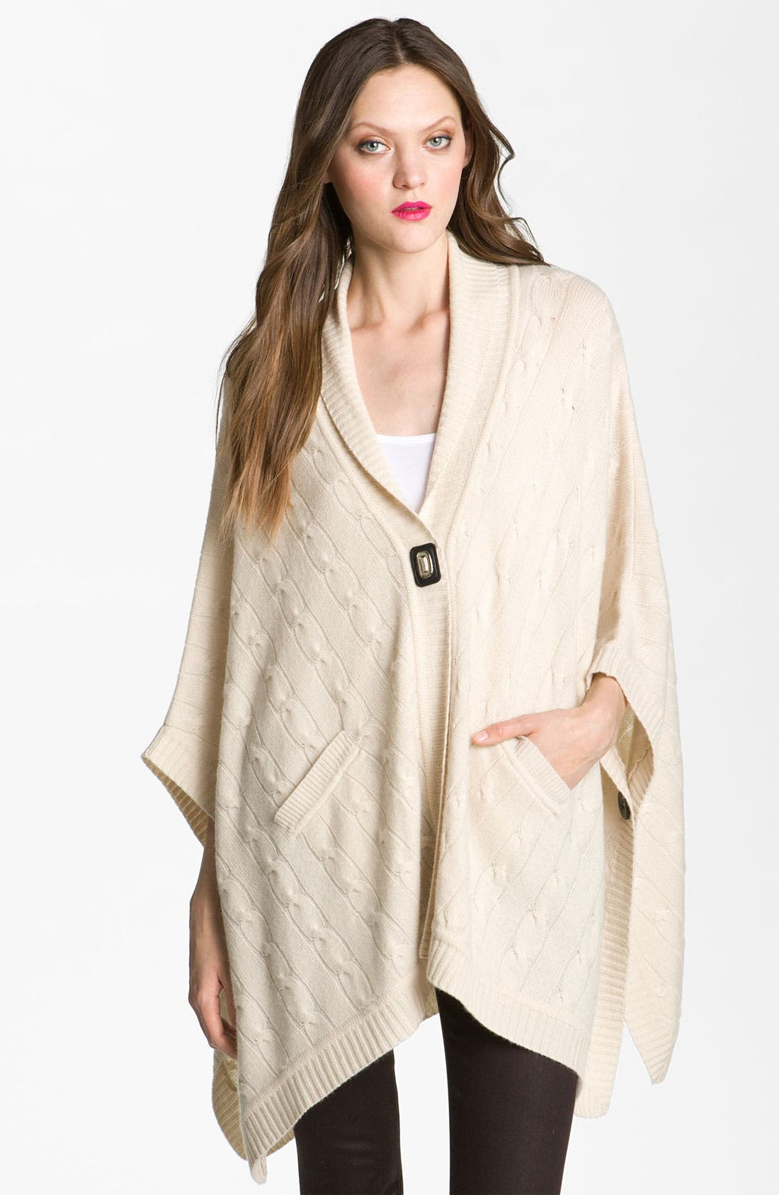Alternate Image 1 Selected - Nordstrom Collection Merino Wool & Cashmere Cable Knit Poncho