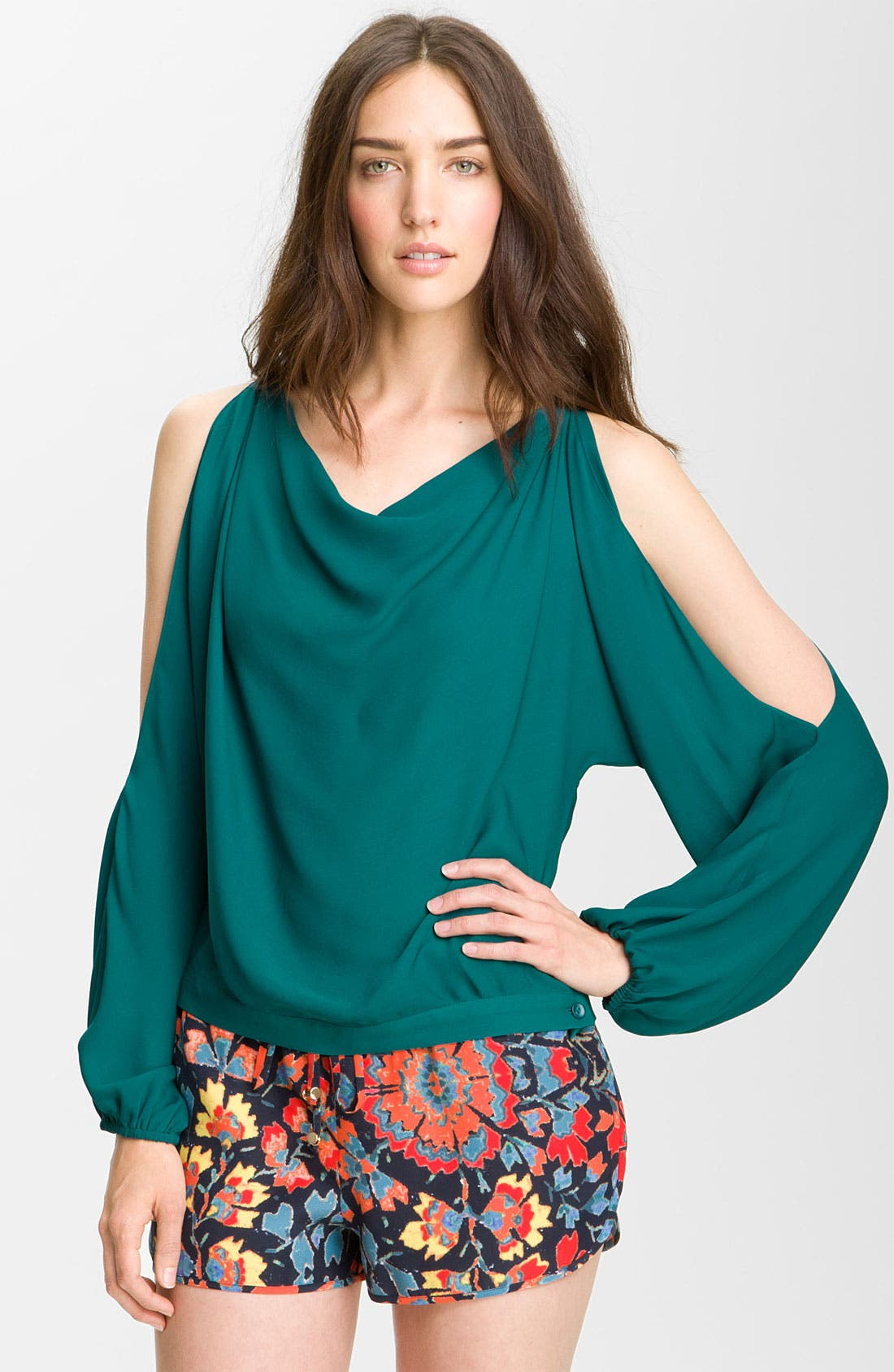 Alternate Image 1 Selected - Haute Hippie Cutout Sleeve Silk Blouse