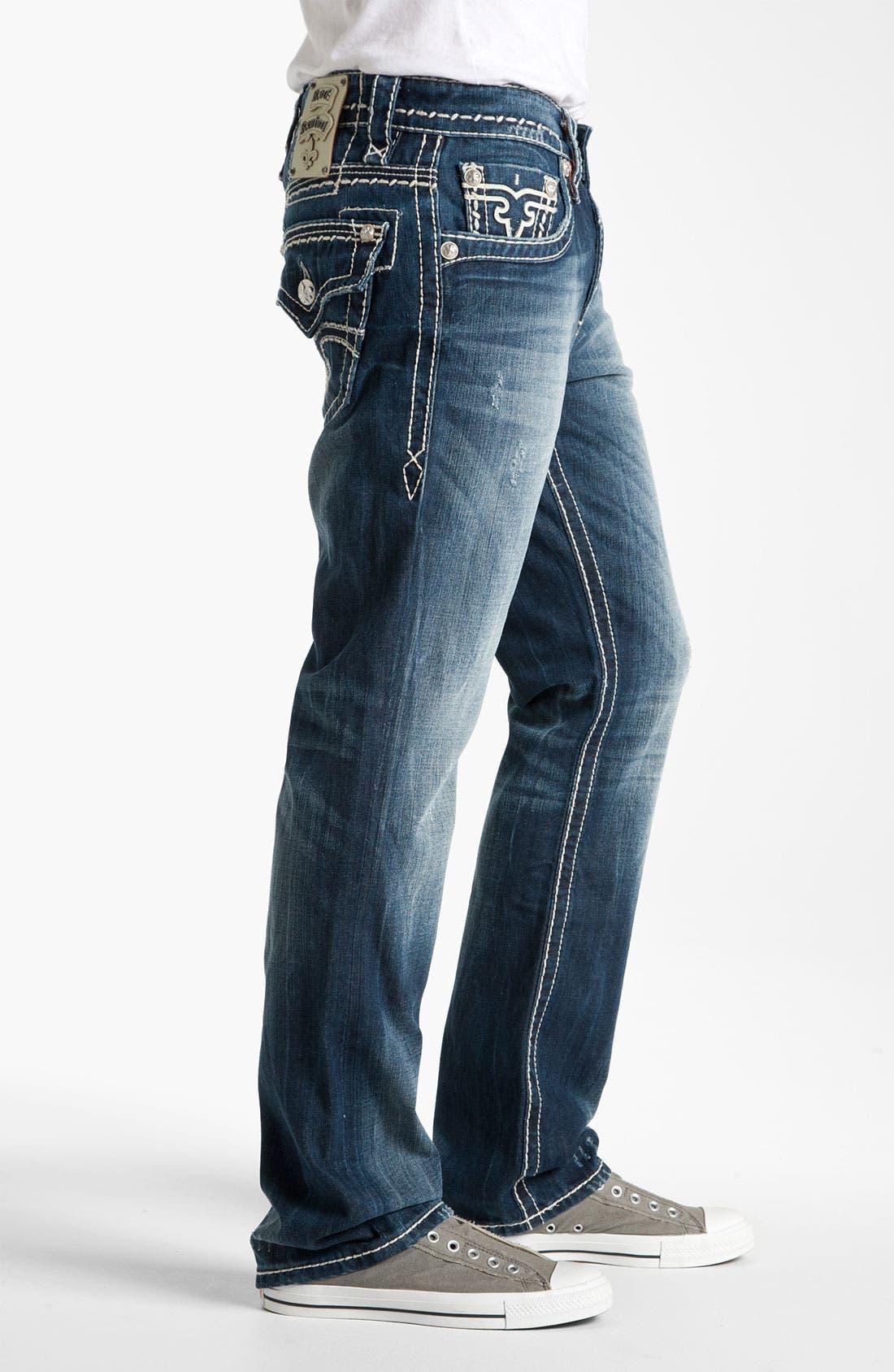 Alternate Image 3  - Rock Revival 'Gary' Straight Leg Jeans (Dark Blue)