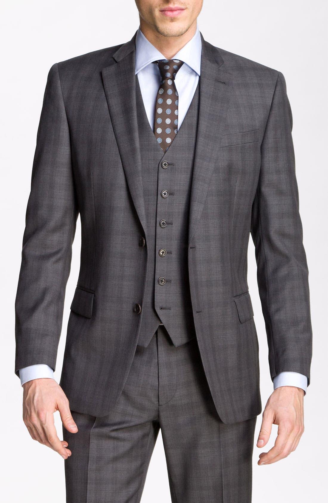 Main Image - John Varvatos Star USA 'Chester' Plaid Three Piece Suit