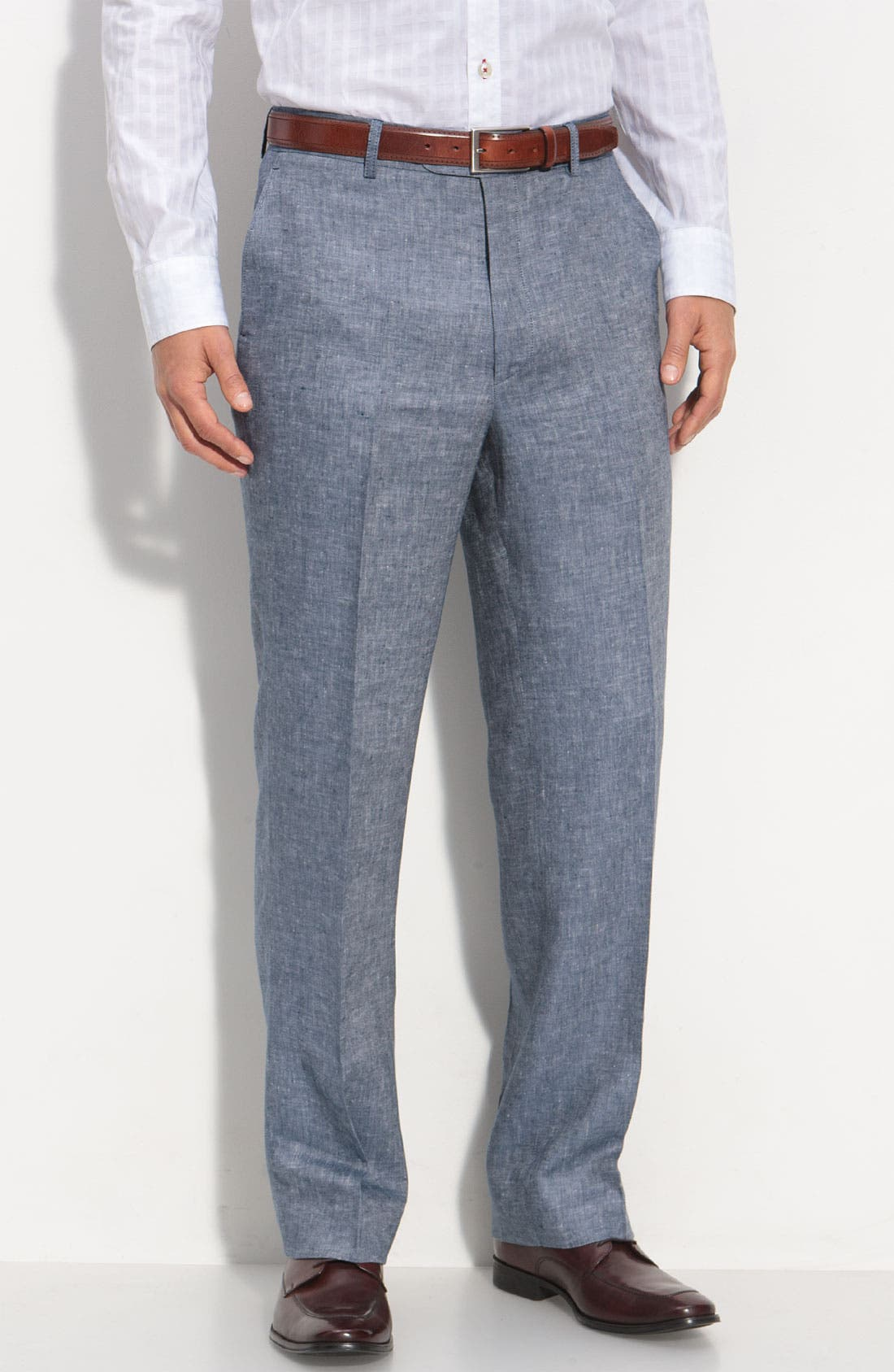 Main Image - Linea Naturale Flat Front Chambray Linen Trousers