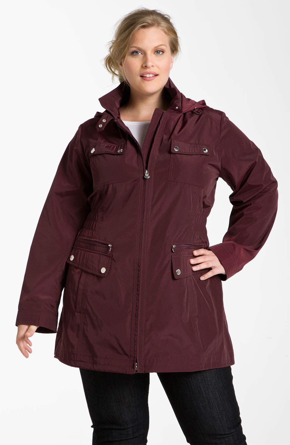Alternate Image 1 Selected - Laundry by Shelli Segal Packable Hooded Anorak (Plus)