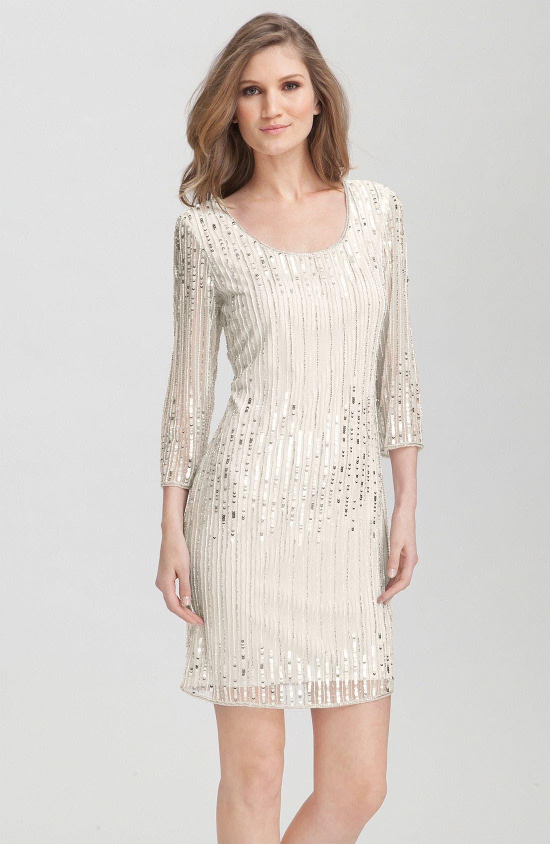 Main Image - Pisarro Nights Embellished Overlay Sheath Dress
