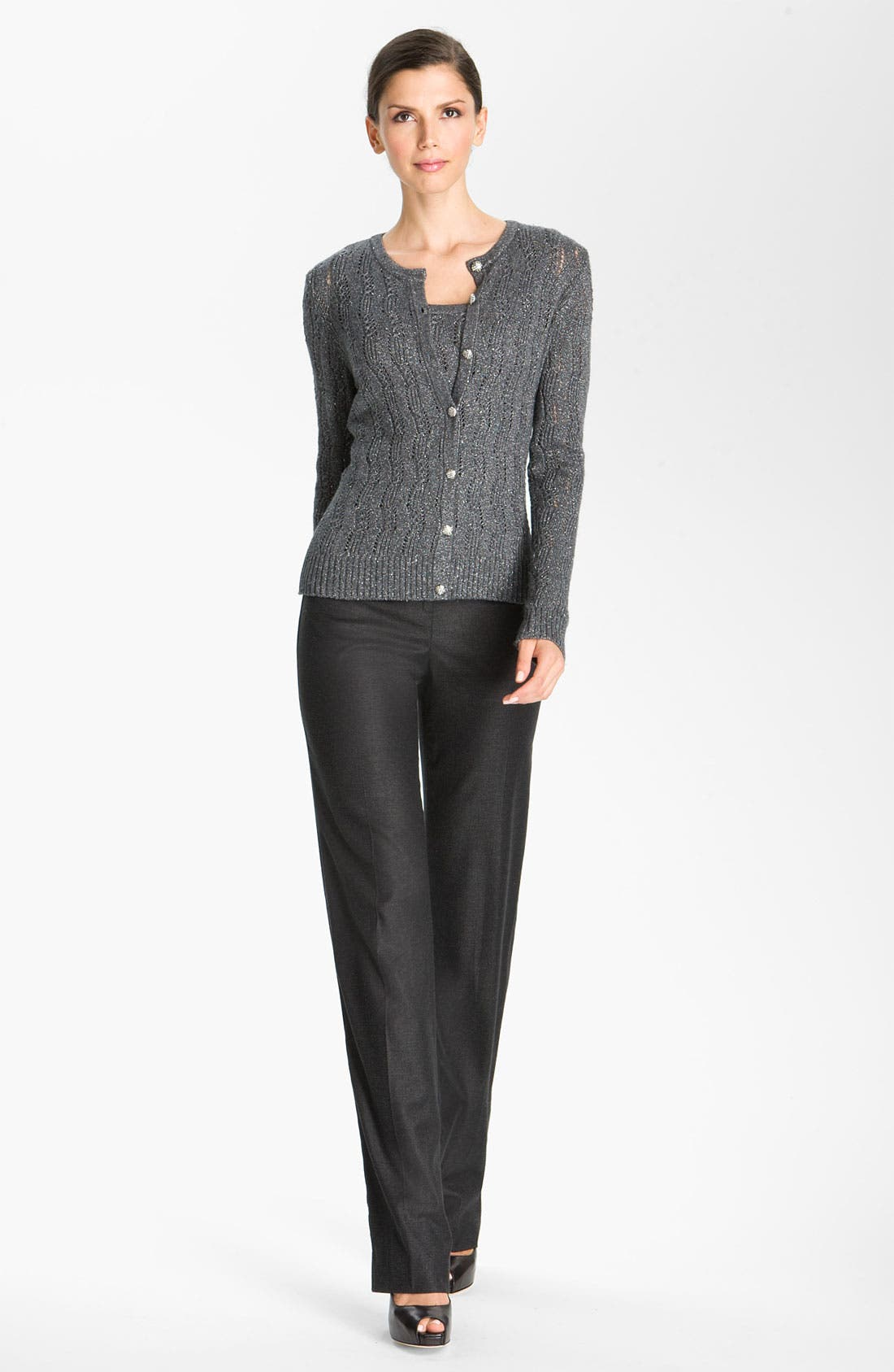 Alternate Image 2  - St. John Collection Lacy Cable Knit Cardigan
