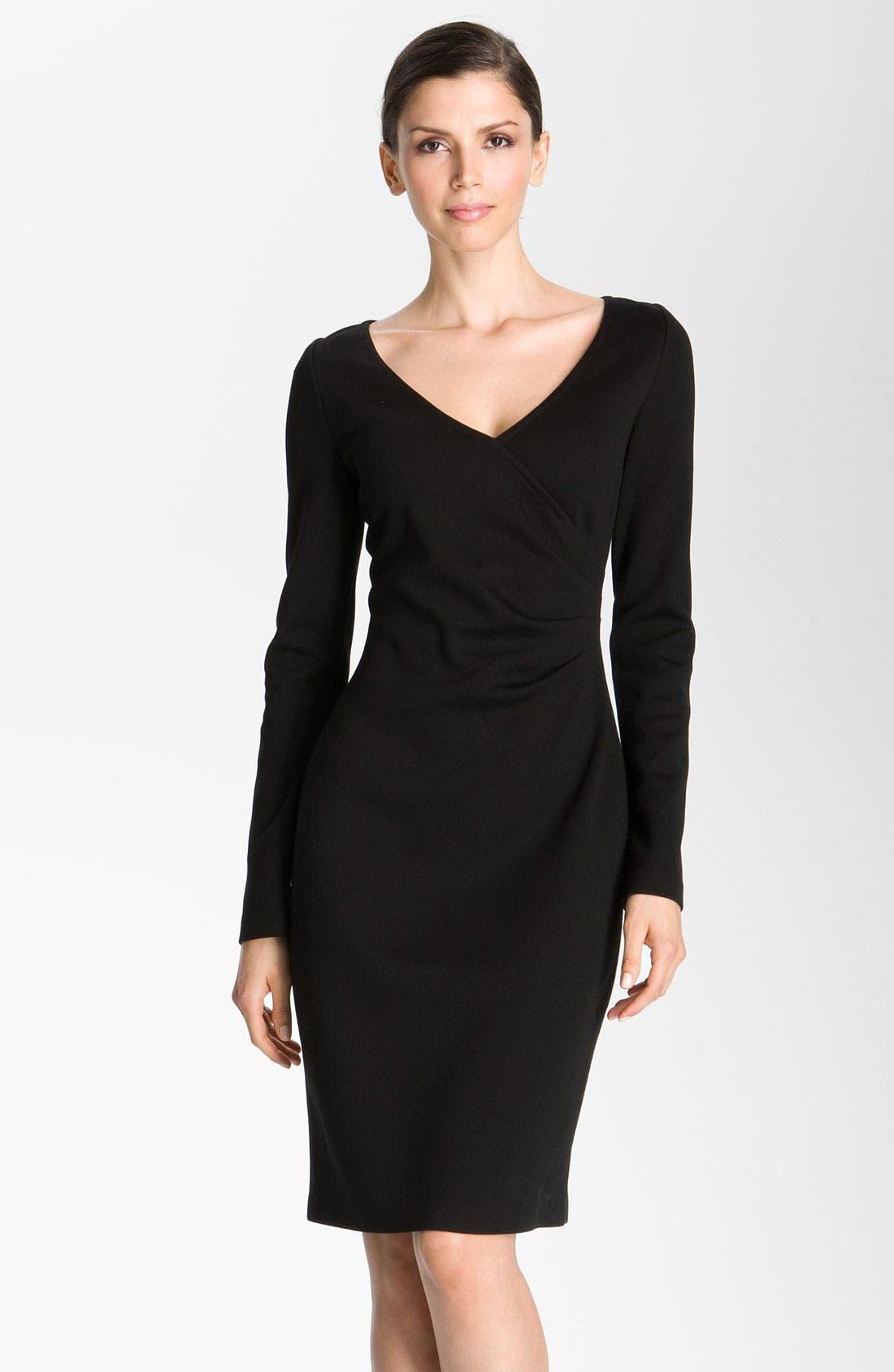 Main Image - St. John Collection Milano Knit Faux Wrap Dress