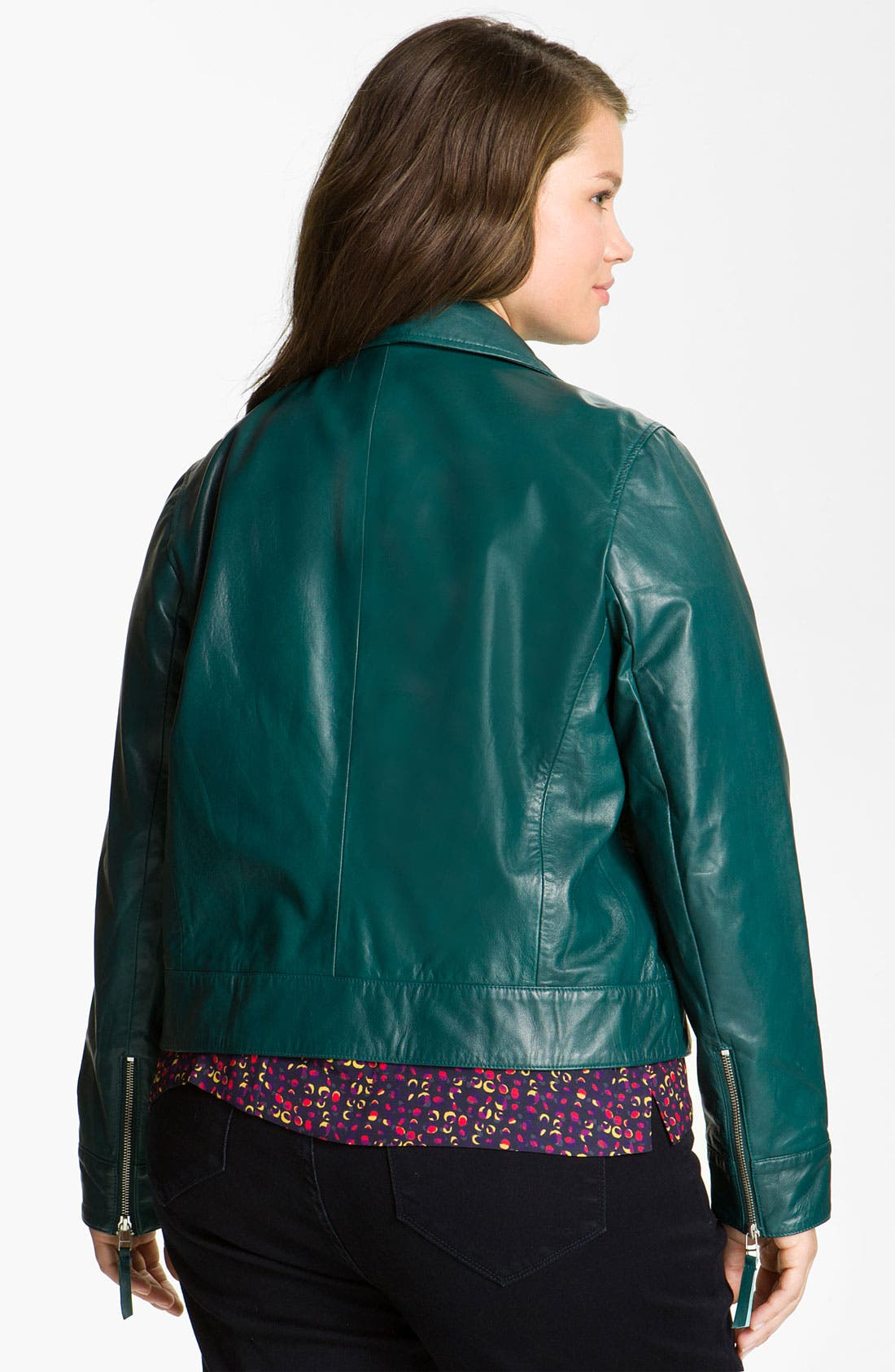 Alternate Image 2  - John Carlisle Leather Moto Jacket (Plus)