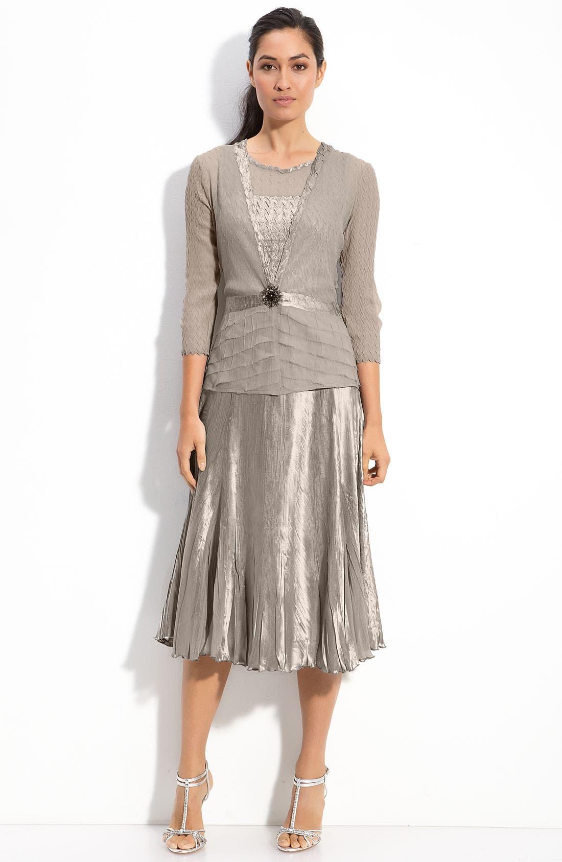 Alternate Image 1 Selected - Komarov Pleated Charmeuse Dress & Chiffon Jacket (Regular & Petite)