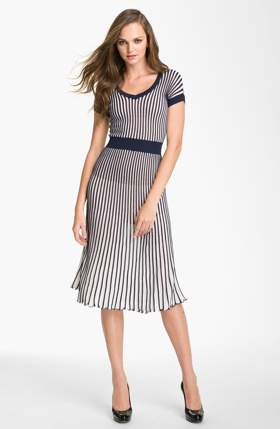 Alternate Image 1 Selected - BCBGMAXAZRIA Pleated V-Neck Sweater Dress