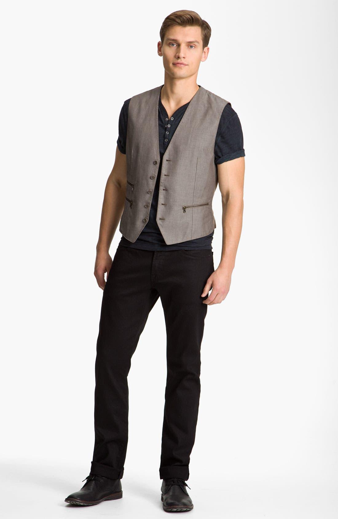 Main Image - John Varvatos Star USA Henley, Vest & AG Jeans Straight Leg Jeans