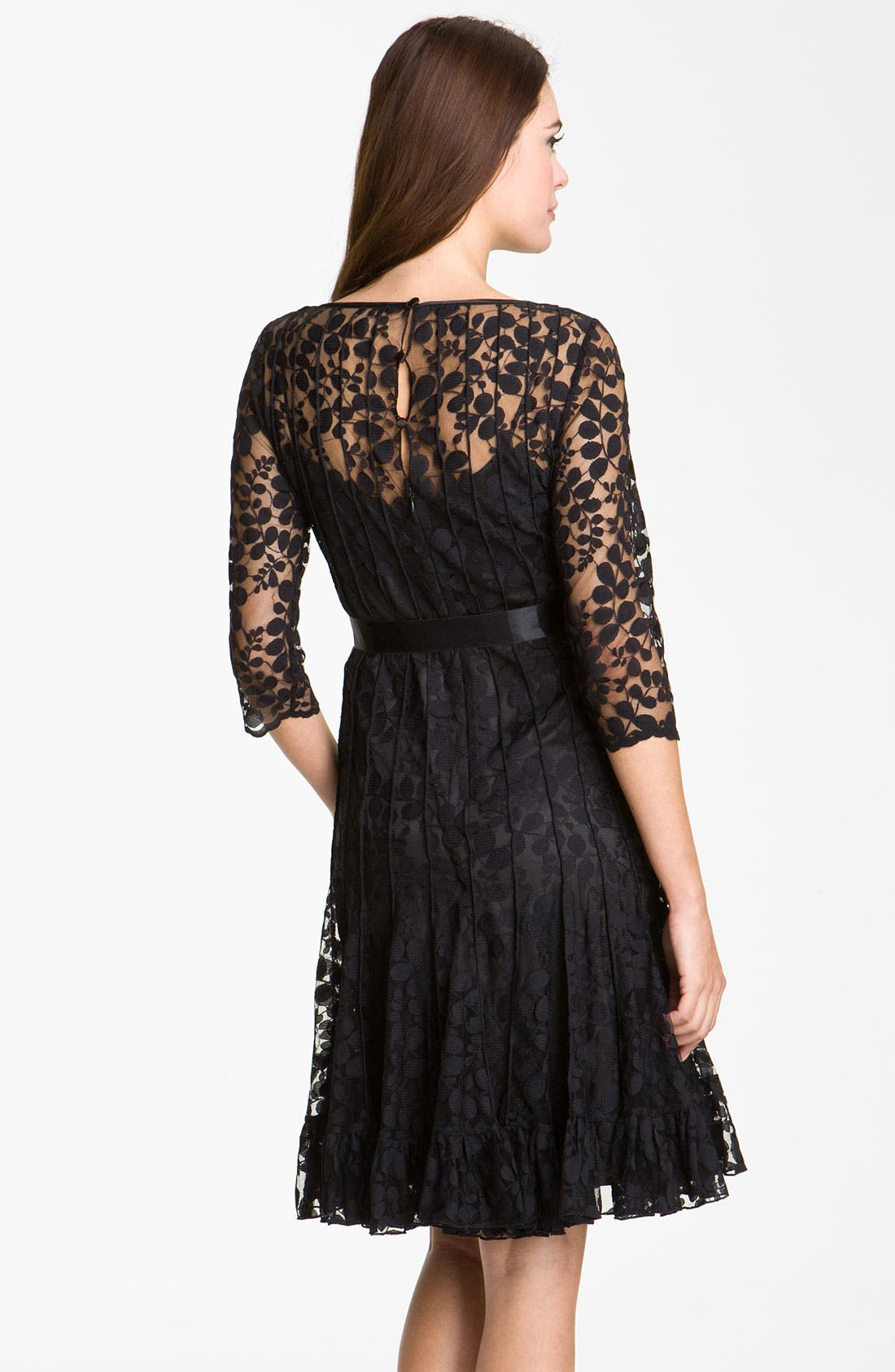 Alternate Image 2  - Teri Jon Pintuck Mesh Overlay Dress