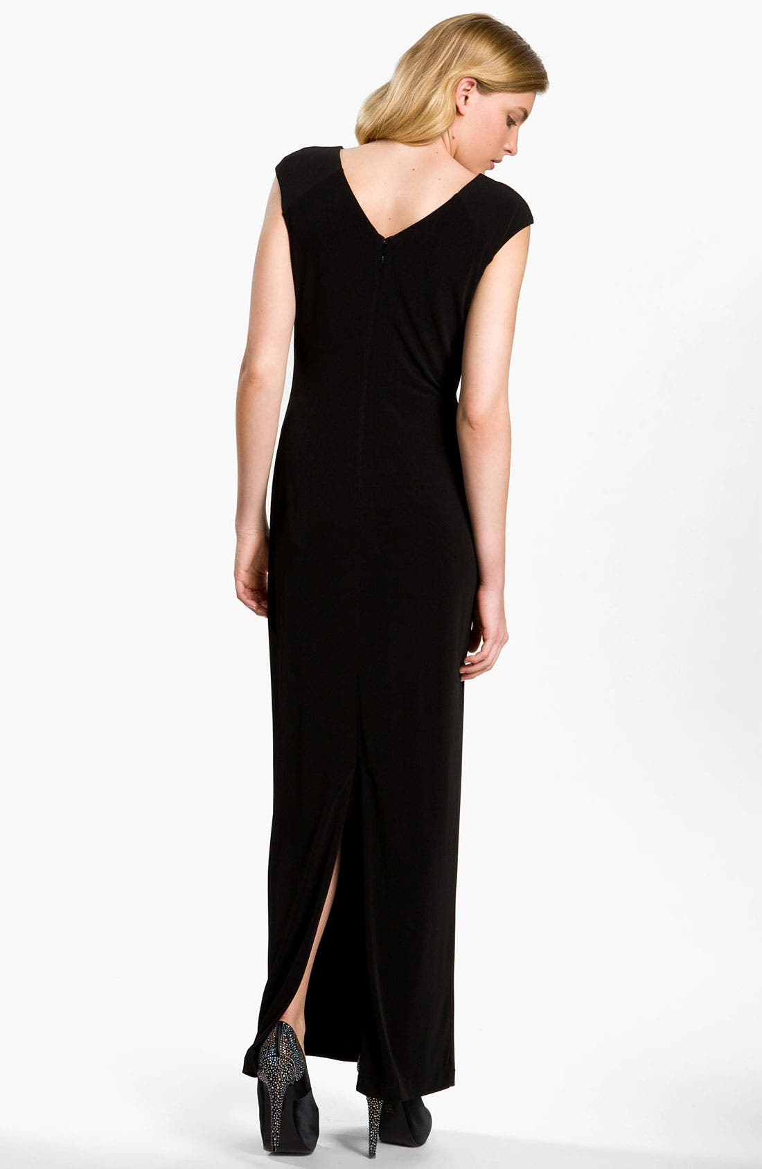 Alternate Image 2  - Calvin Klein Asymmetrical Neck Jersey Gown