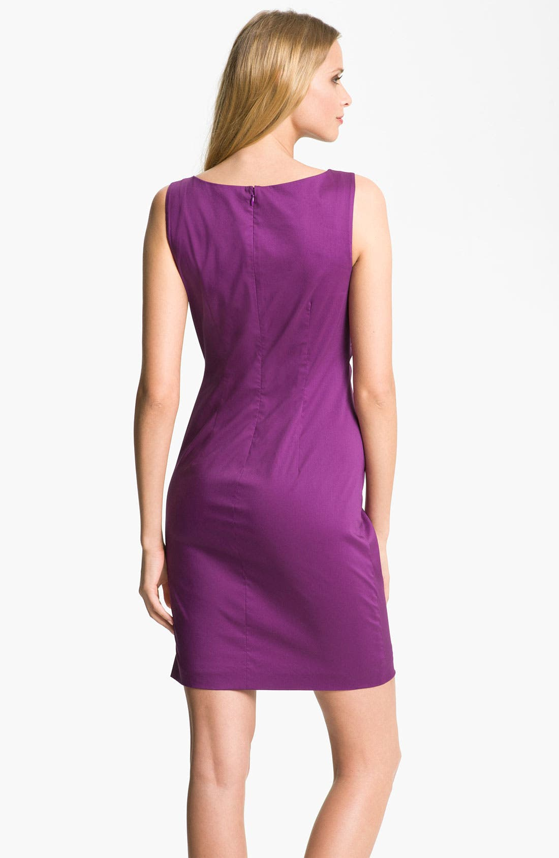 Alternate Image 2  - Suzi Chin for Maggy Boutique Ruched Asymmetrical Neck Sheath Dress