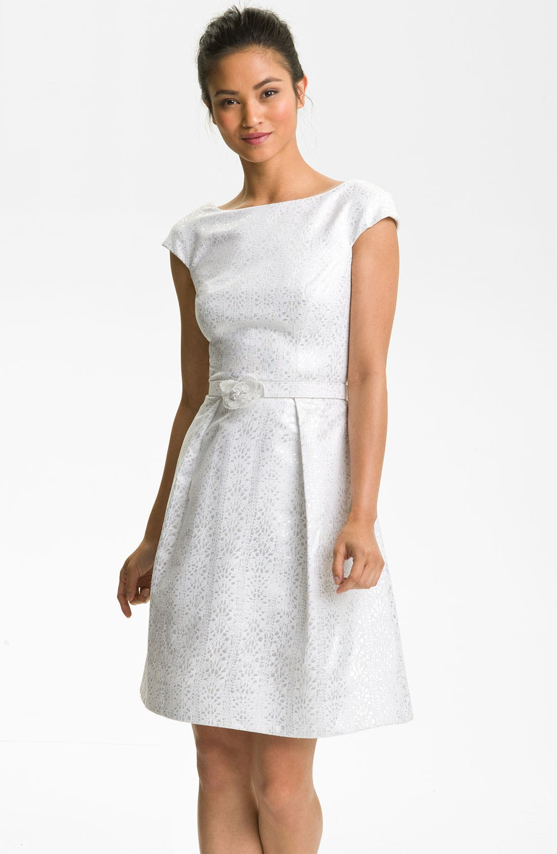 Main Image - Theia Cap Sleeve Jacquard Fit & Flare Dress