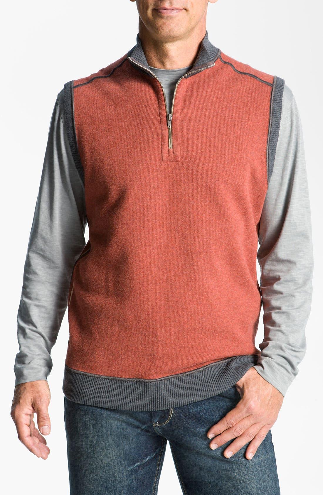 Main Image - Cutter & Buck 'Essex' Reversible Half Zip Vest (Big & Tall)