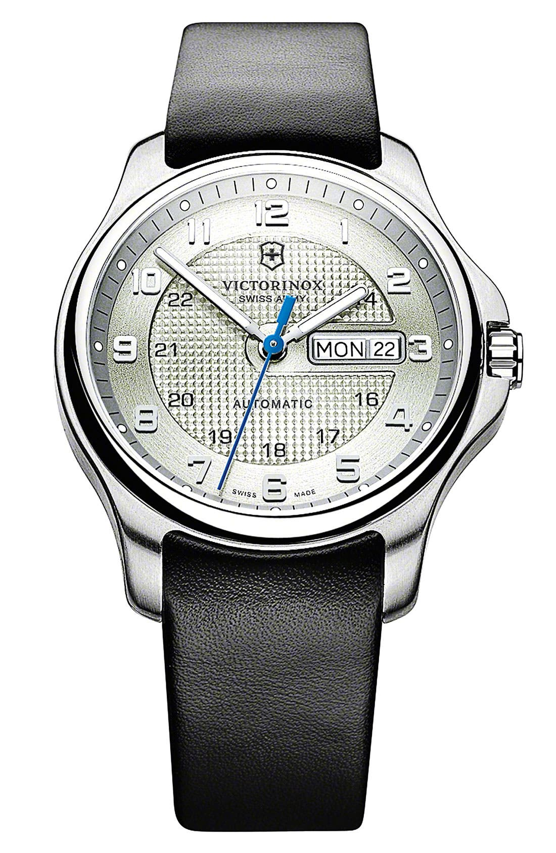 Alternate Image 1 Selected - Victorinox Swiss Army® 'Officer's' Automatic Leather Strap Watch, 40mm