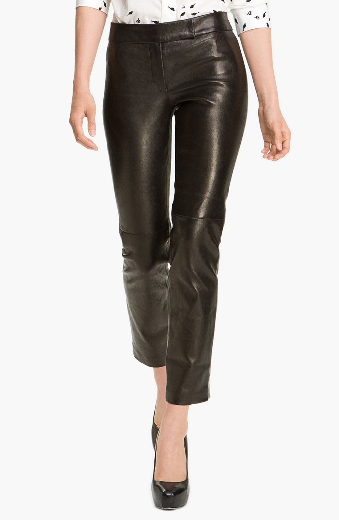 Main Image - Milly Slim Leg Leather Ankle Pants