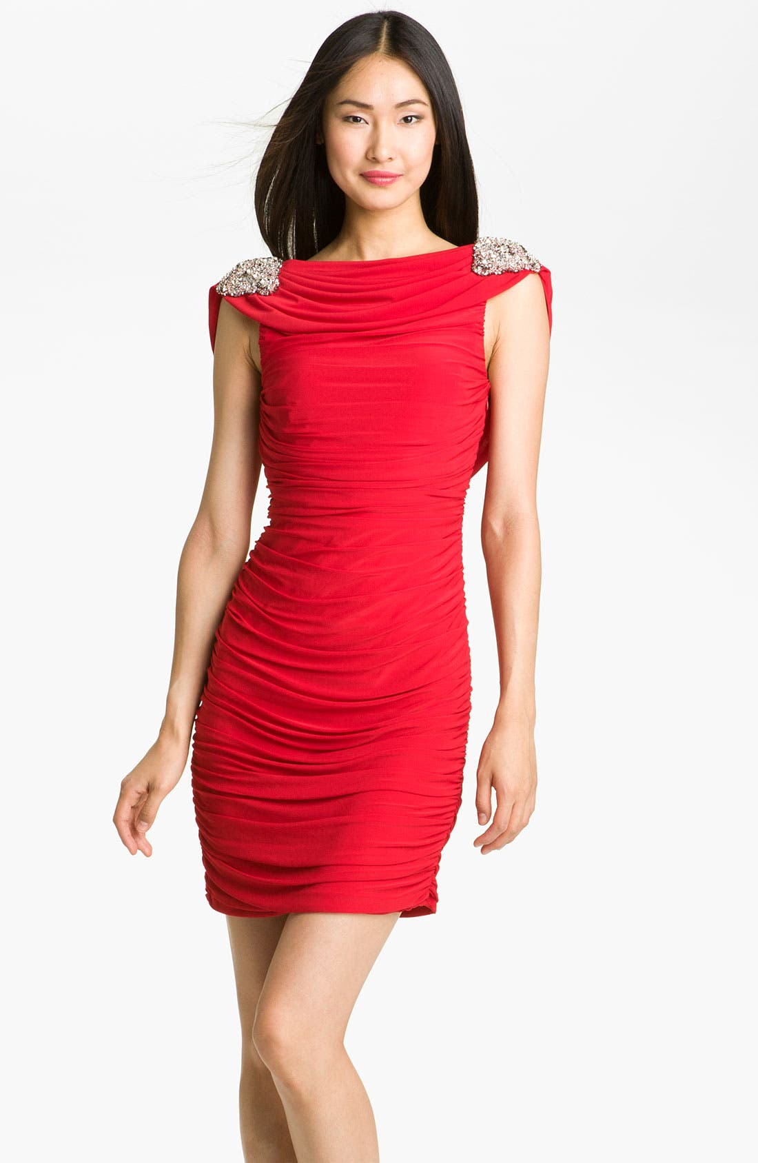 Main Image - JS Boutique Ruched Draped Back Jersey Sheath Dress