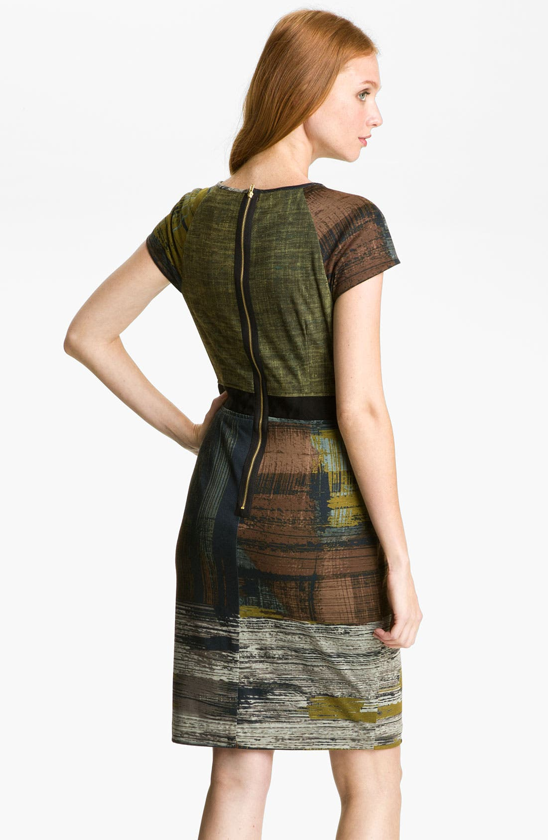 Alternate Image 2  - Maggy London Abstract Print Pleated Neck Jersey Dress