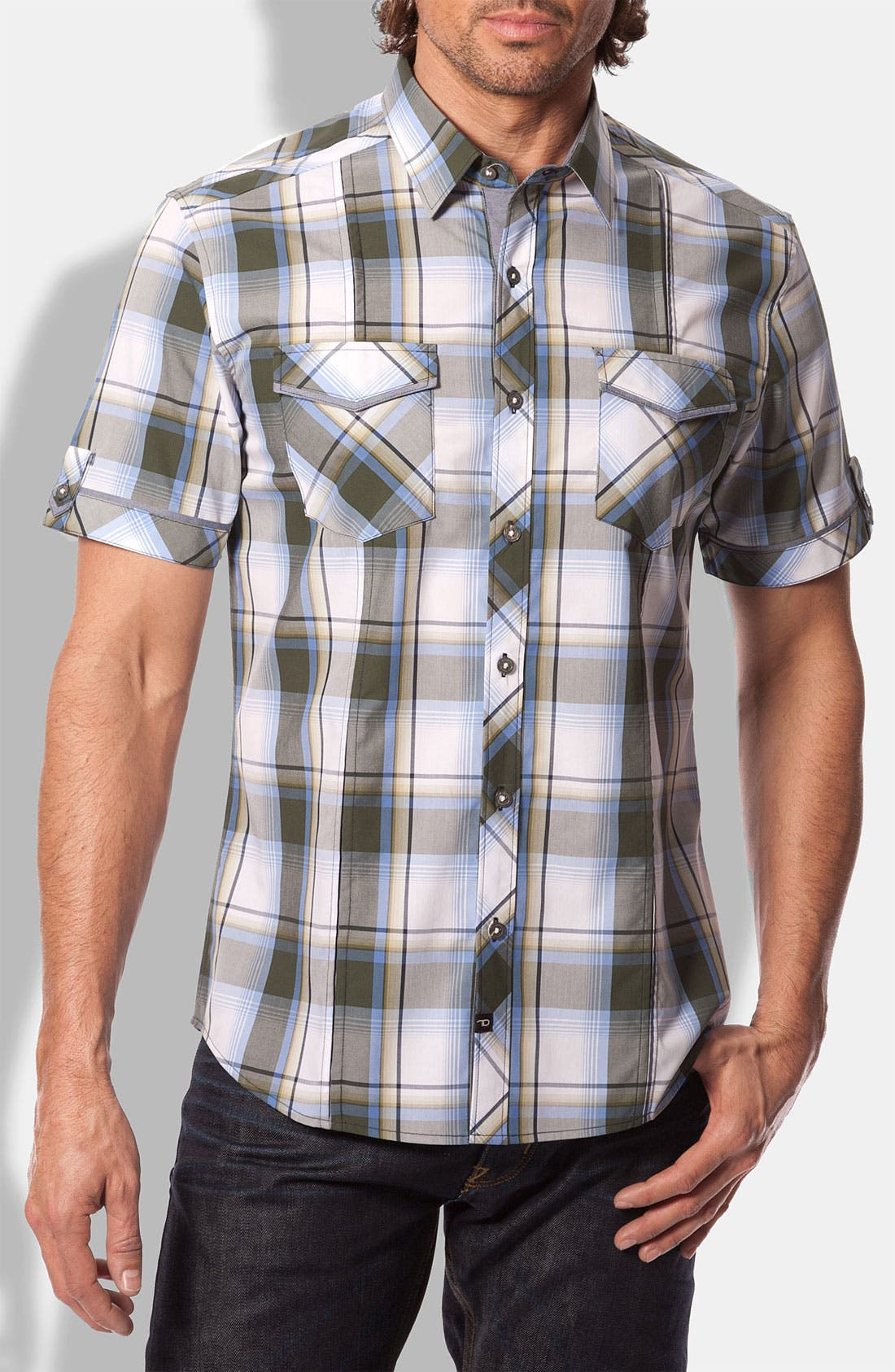 Alternate Image 1 Selected - 7 Diamonds 'Come Here My Dear' Plaid Woven Short Sleeve Shirt