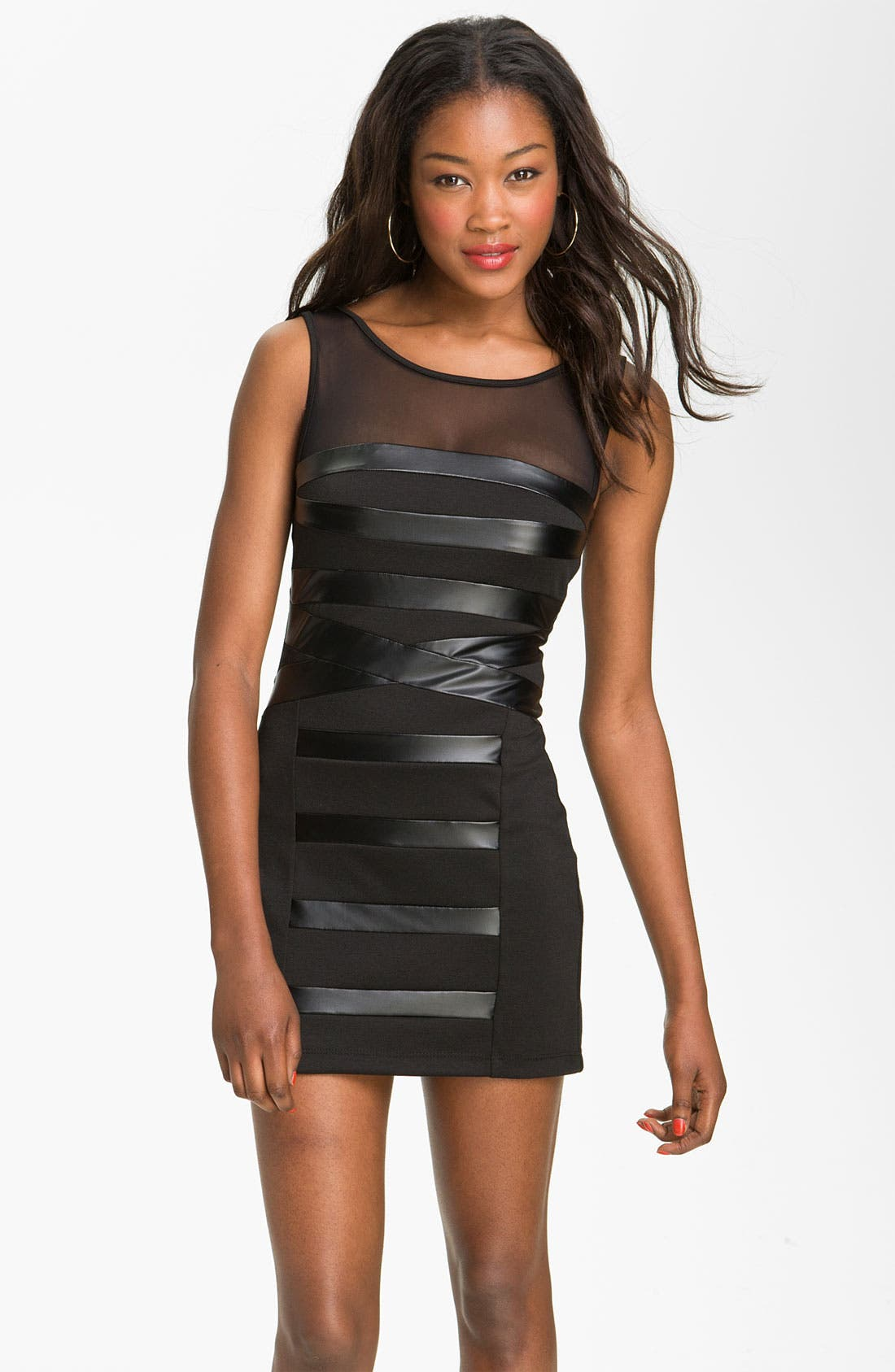 Alternate Image 1 Selected - Trixxi Faux Leather Bandage Dress (Juniors)