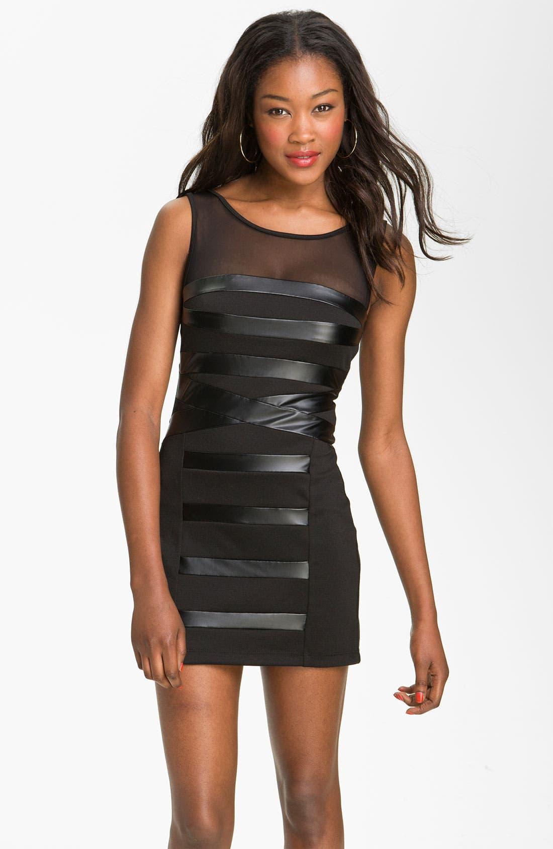 Main Image - Trixxi Faux Leather Bandage Dress (Juniors)
