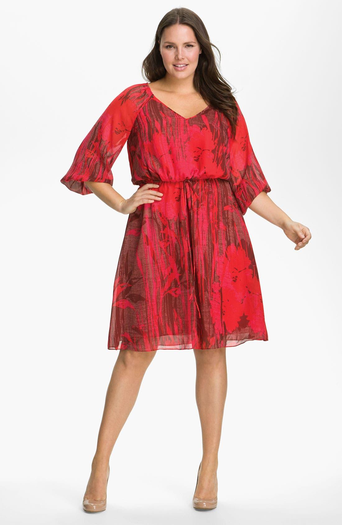 Main Image - Adrianna Papell Chiffon Gather Sleeve Dress (Plus)