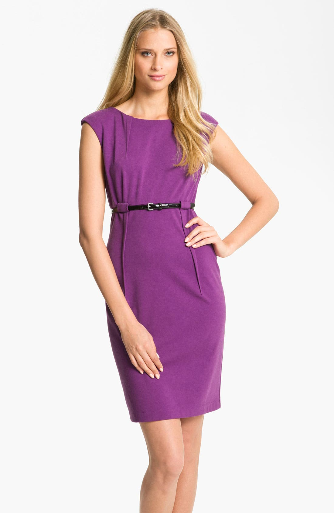 Alternate Image 1 Selected - Calvin Klein 'Stretch Luxe' Belted Sheath Dress