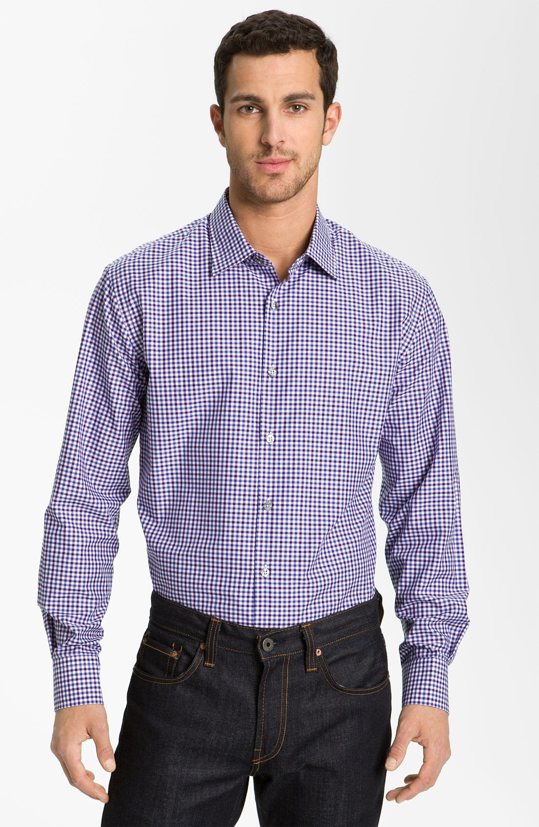 Alternate Image 1 Selected - Paul Smith London Trim Fit Gingham Check Dress Shirt