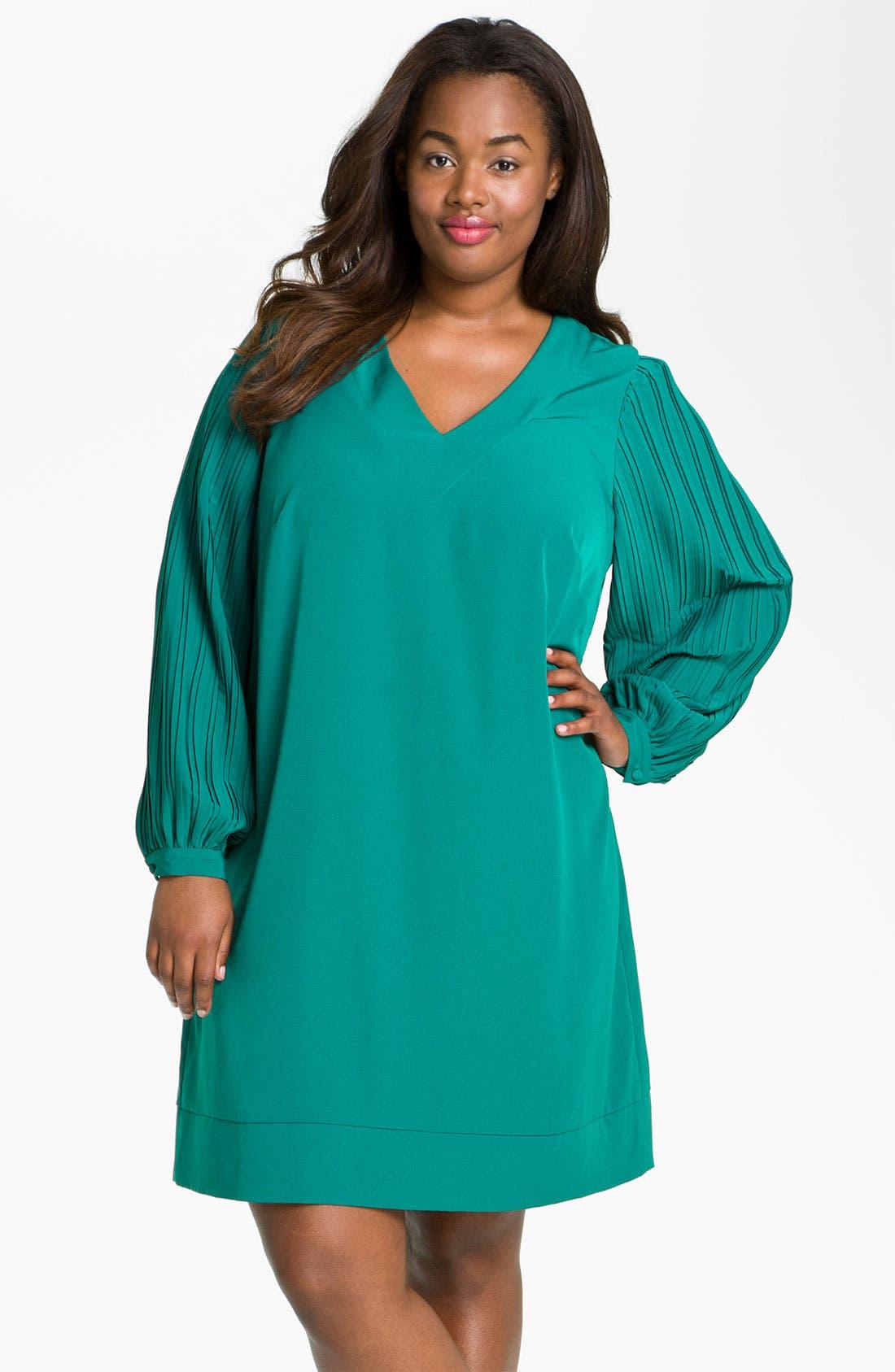 Alternate Image 3  - Donna Ricco Pleat Sleeve Shift Dress (Plus)