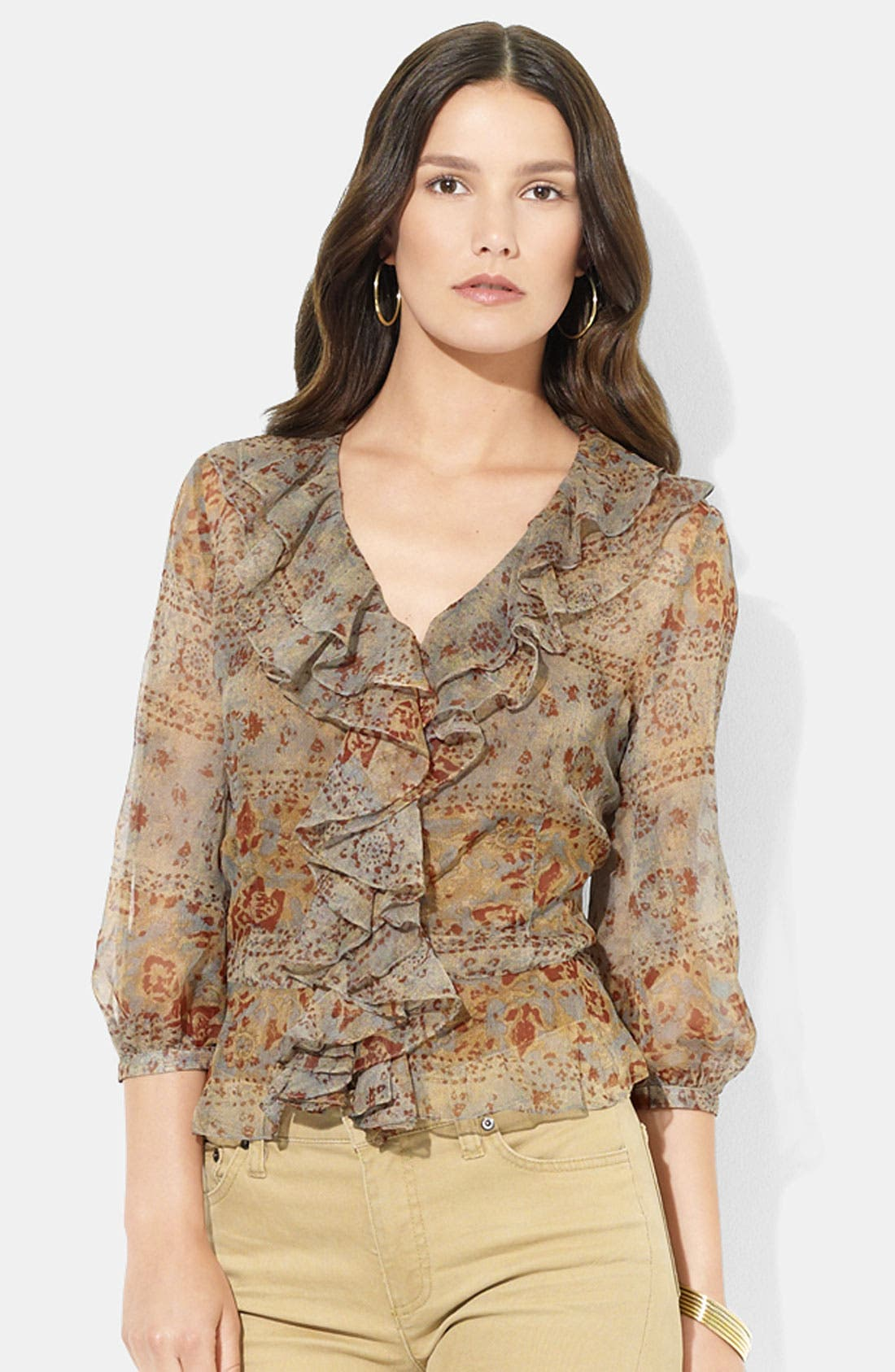 Main Image - Lauren Ralph Lauren Ruffled V-Neck Blouse