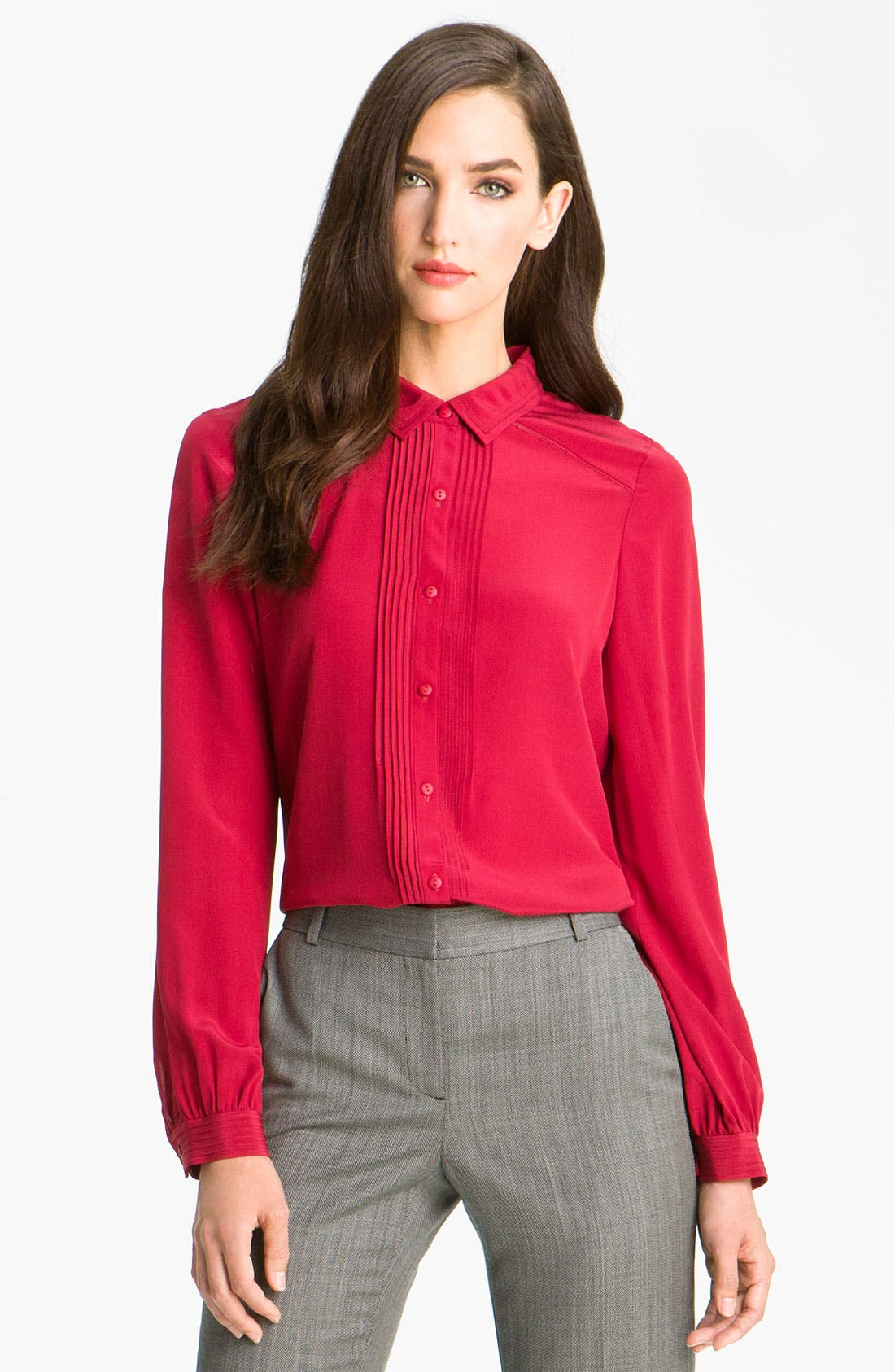 Alternate Image 1 Selected - Classiques Entier® 'Skyline' Pintuck Silk Blouse