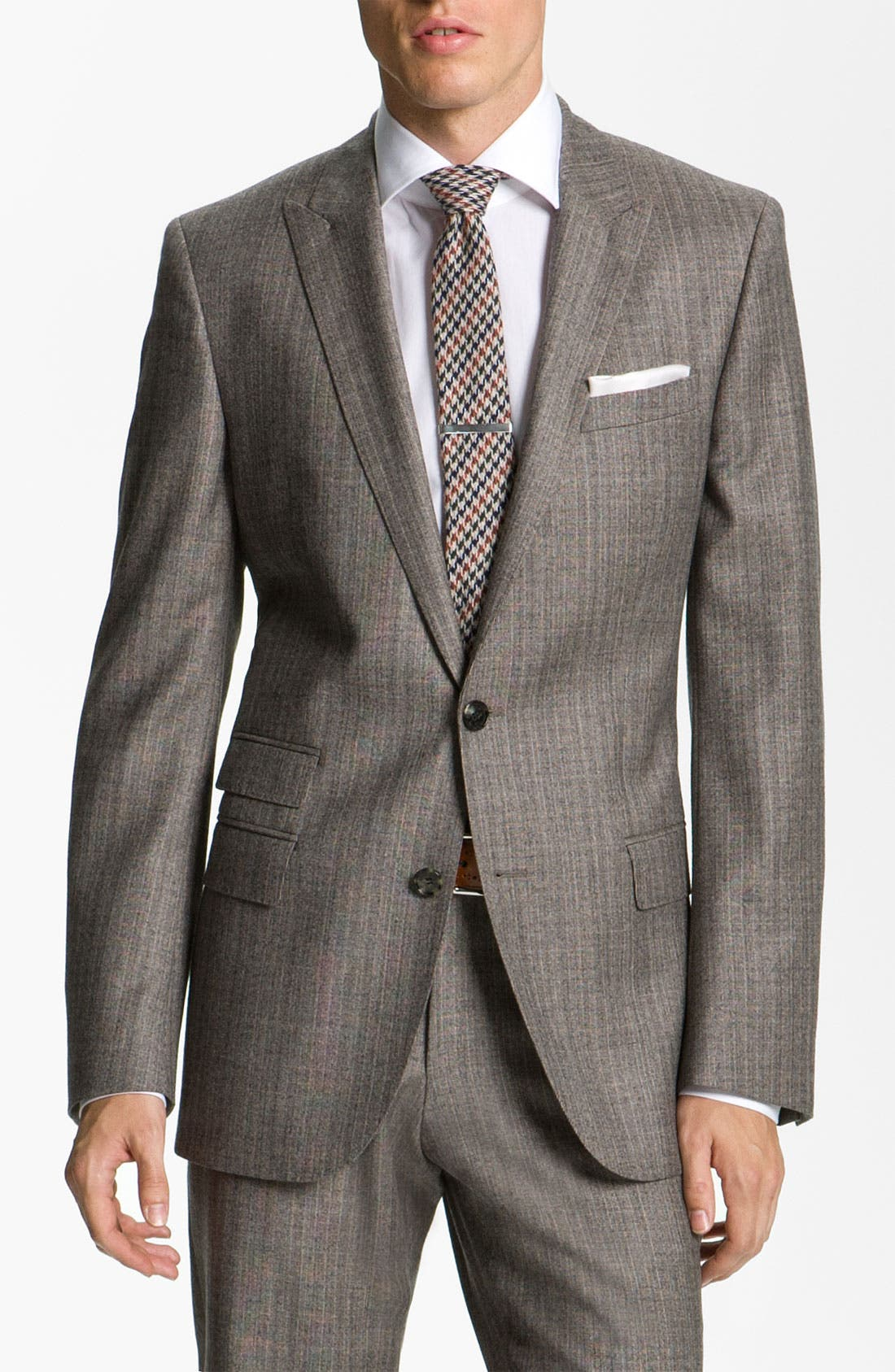 Alternate Image 1 Selected - BOSS Black 'Hold Genius' Trim Fit Plaid Suit