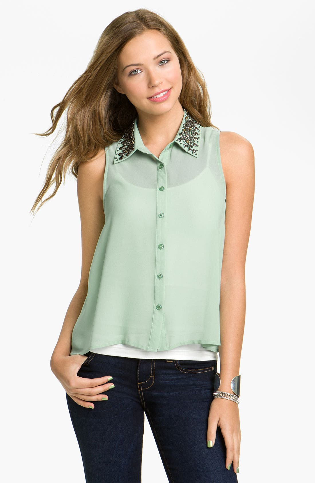 Main Image - Lush Stud Collar Shirt (Juniors)
