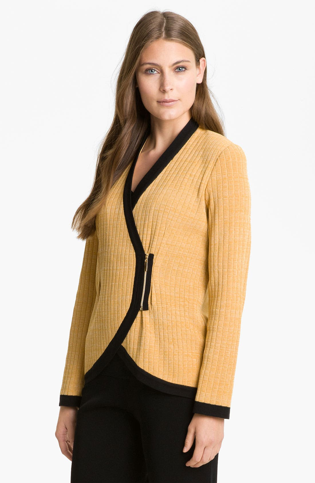 Main Image - Exclusively Misook Asymmetrical Zip Sweater Jacket
