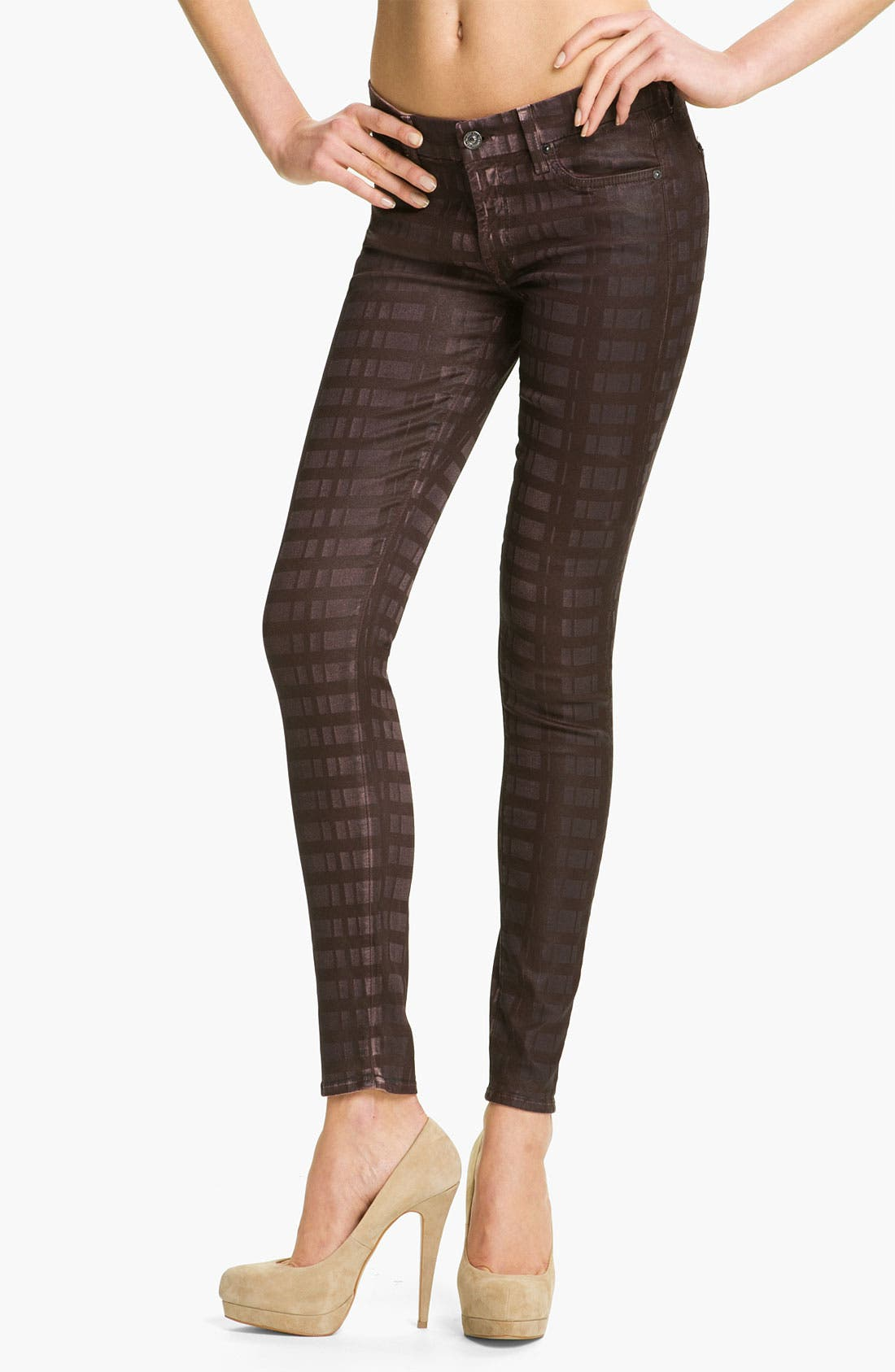 Main Image - 7 For All Mankind® Print Skinny Jeans (Burgundy Plaid)
