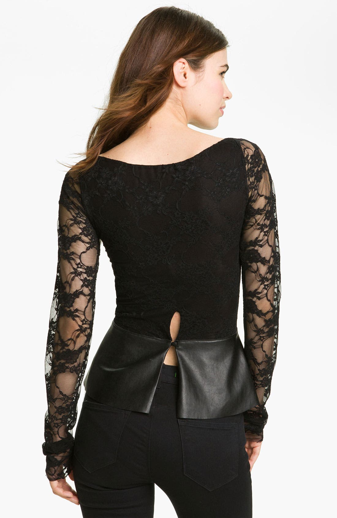 Alternate Image 2  - Bailey 44 'Extra Credit' Faux Leather Trim Lace Top