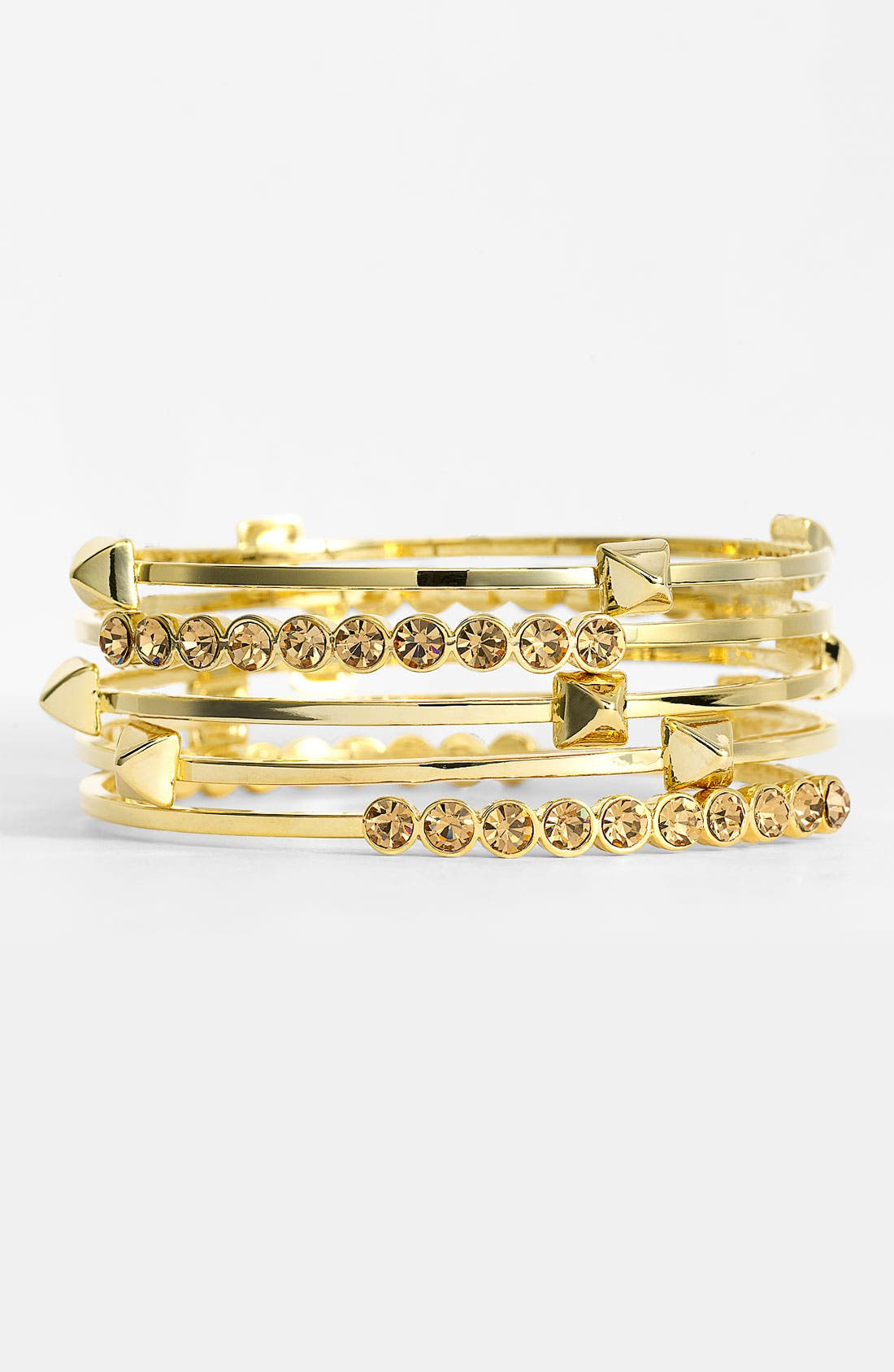 Main Image - Vince Camuto 'Basics' Stud & Crystal Bangles (Set of 5)