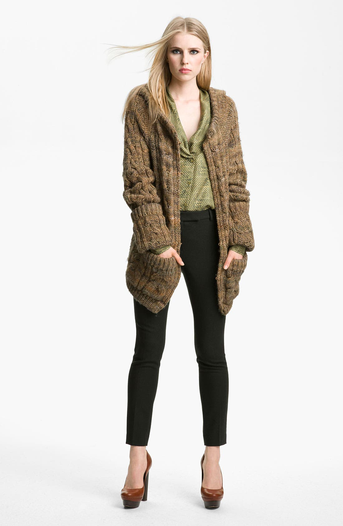 Alternate Image 1 Selected - Rachel Zoe 'Beha' Hooded Cable Sweater