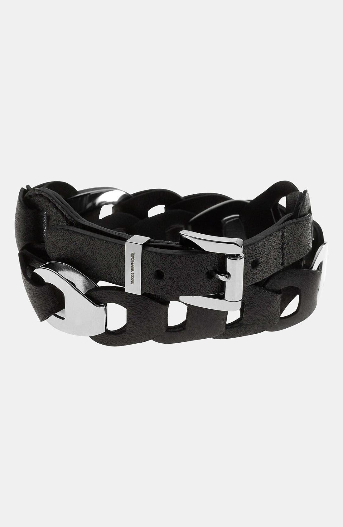 Alternate Image 1 Selected - Michael Kors 'Equestrian Luxury' Leather Wrap Bracelet