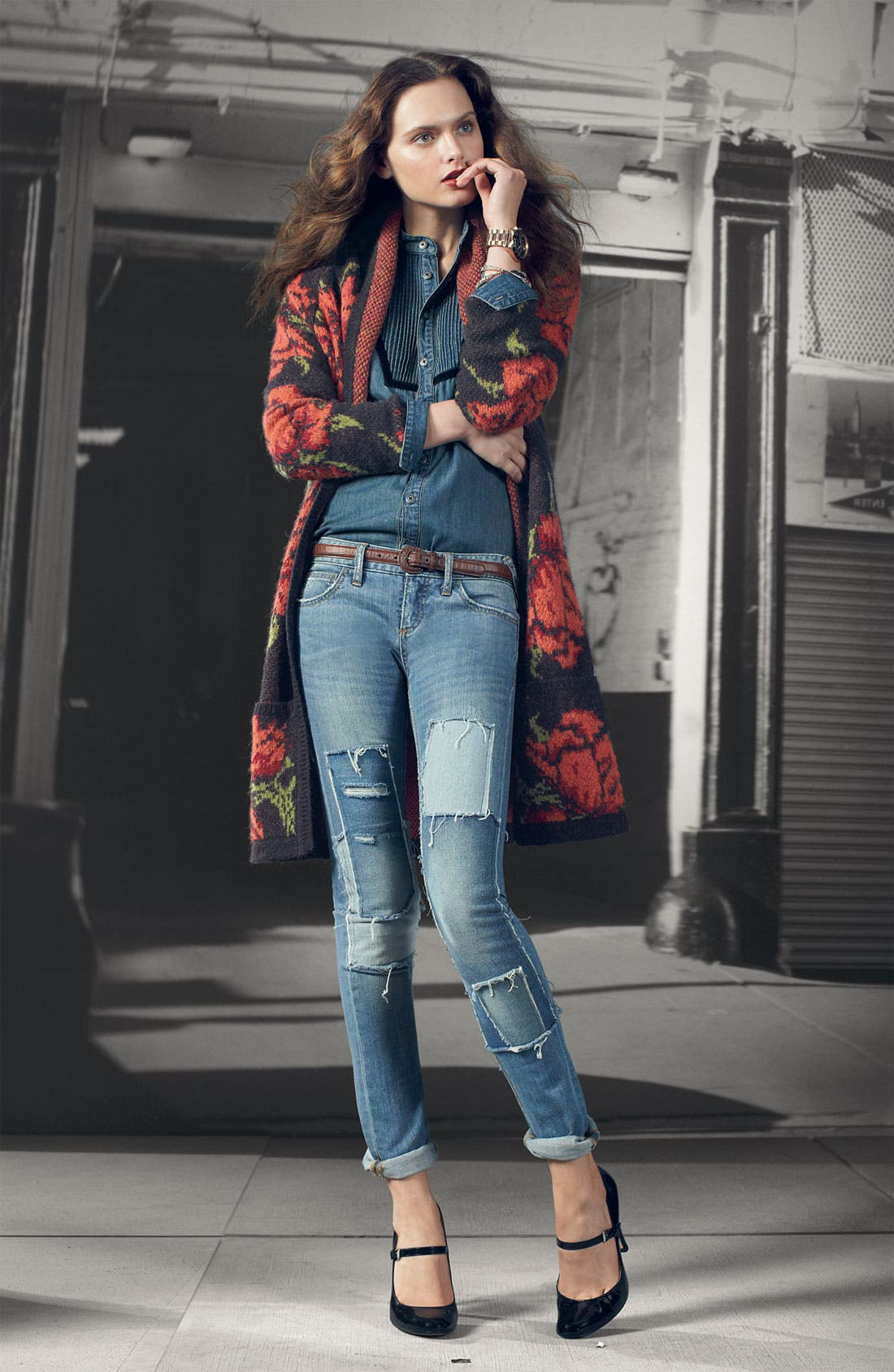 Alternate Image 4  - Free People Patched Skinny Jeans (Hillside)