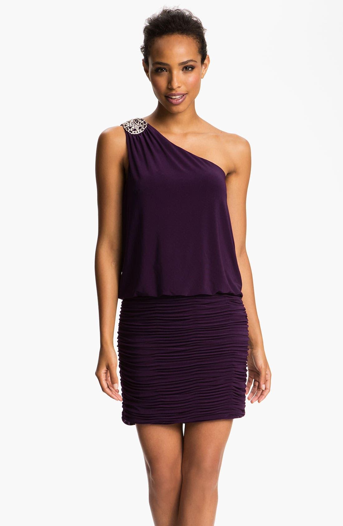 Alternate Image 1  - JS Boutique Embellished One Shoulder Blouson Dress