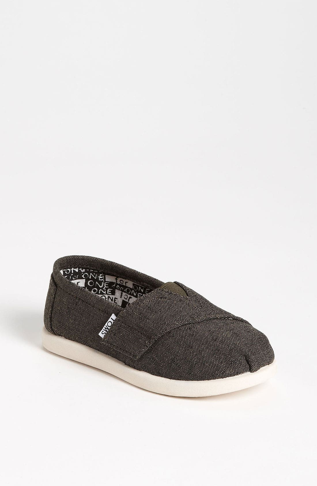 Main Image - TOMS 'Classic Tiny - Burnt' Chambray Slip-On (Baby, Walker & Toddler)