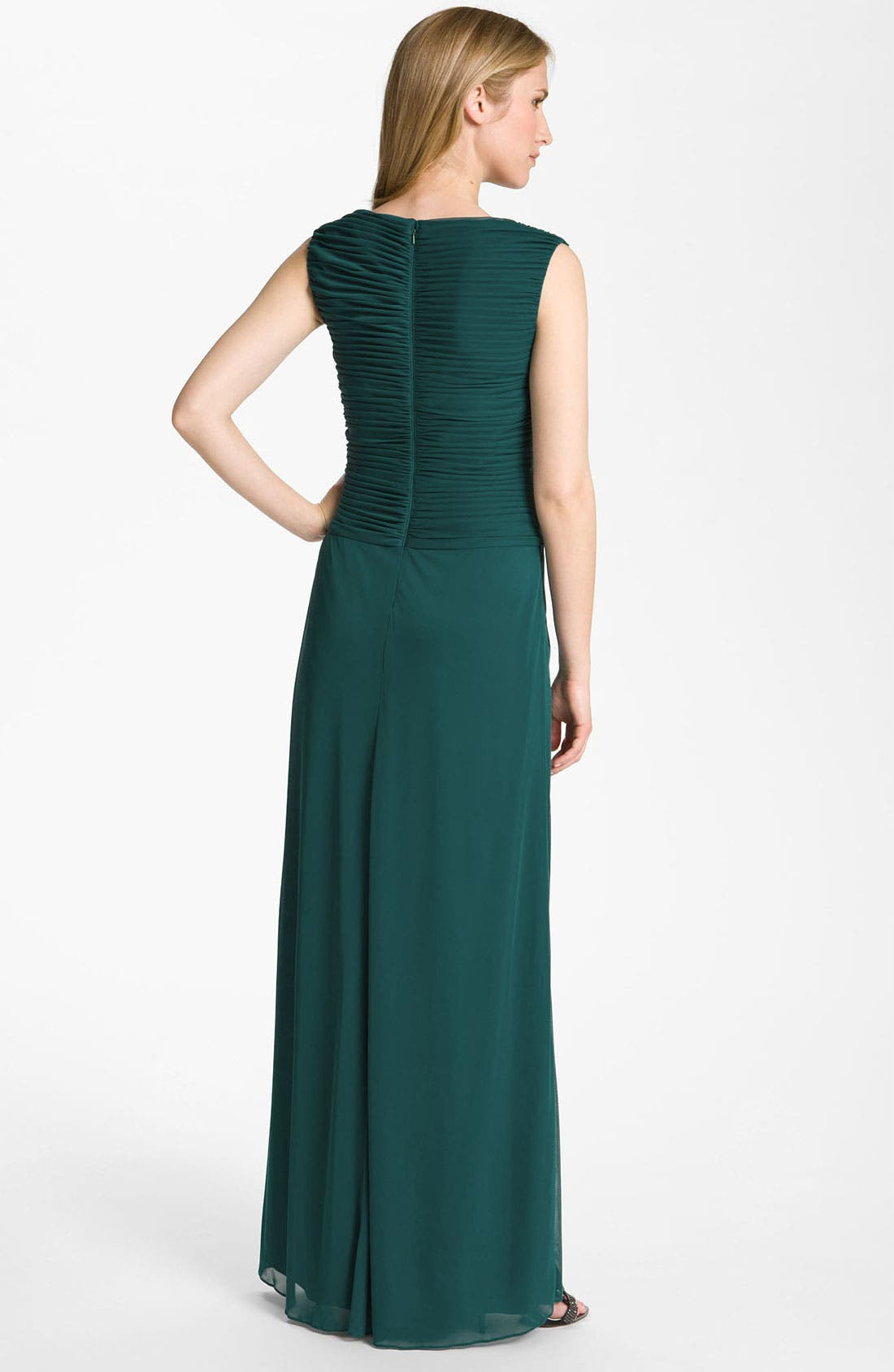 Alternate Image 2  - Adrianna Papell Embellished Pleated Bodice Mesh Gown (Petite)