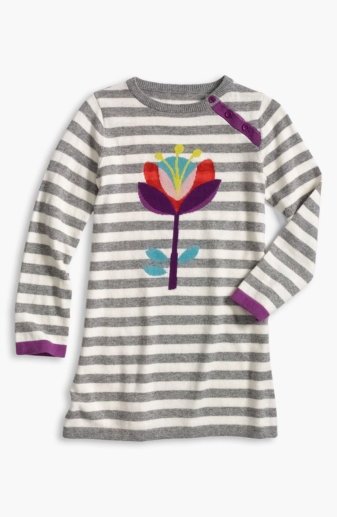Main Image - Mini Boden 'Logo' Stripe Dress (Little Girls & Big Girls)