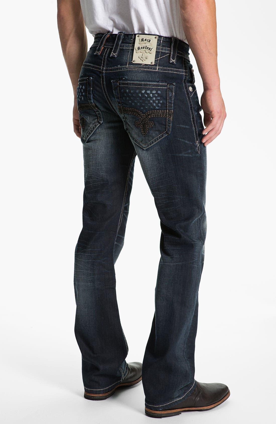 Alternate Image 1 Selected - Rock Revival 'Allen' Straight Leg Jeans (Dark Blue)