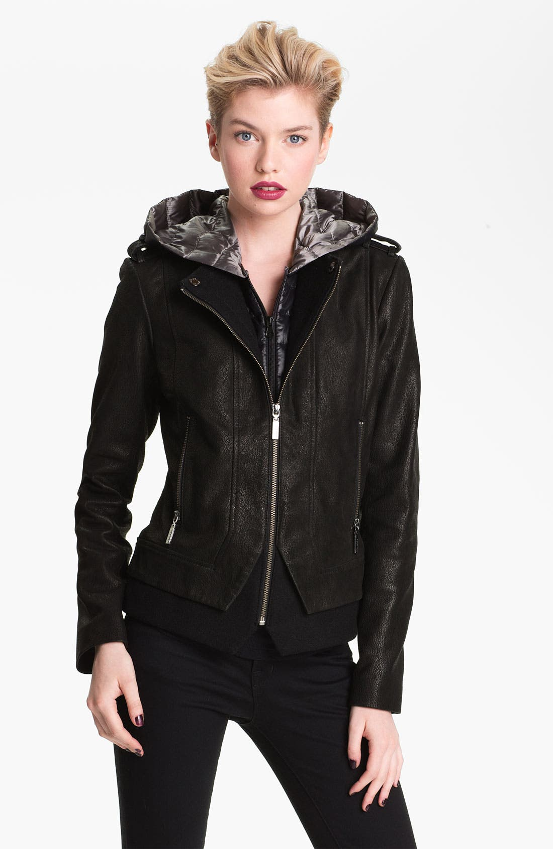 Alternate Image 1  - Bernardo Leather Jacket with Faux Vest Inset