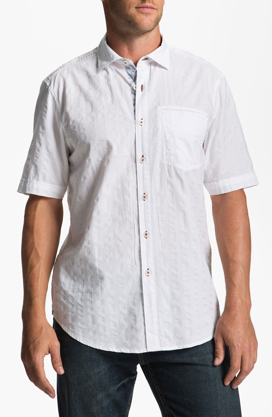 Main Image - Tommy Bahama 'White Stripe' Sport Shirt